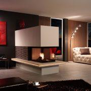 dreiseitiges Heizkamin mit Wärmetauscher, mit Feuertisch und Keramikverkleidung, Bsp. 4